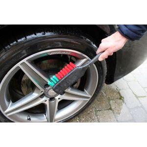 Vikan - Wheel Brush w/Long Handle, 420mm, Soft/split, Black
