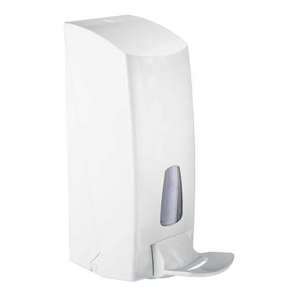 Dispenser for soap and disinfectant, hospital version with elbow lever